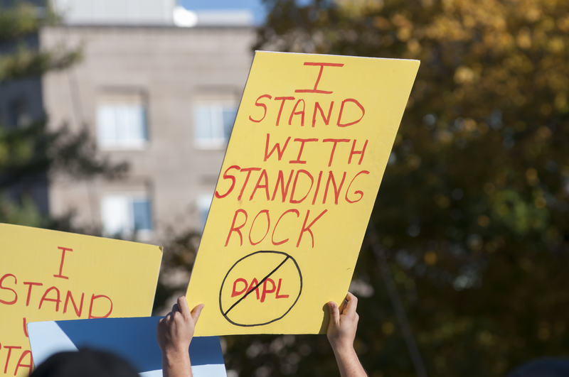 protest for Standing Rock against the North Dakota pipeline in USA